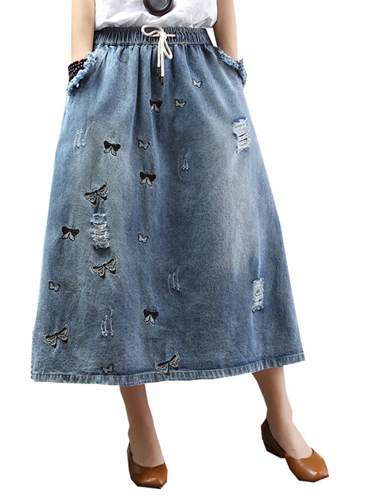 Best Embroidery Butterfly Loose Elastic Waist Skirt With Holes You Can Buy