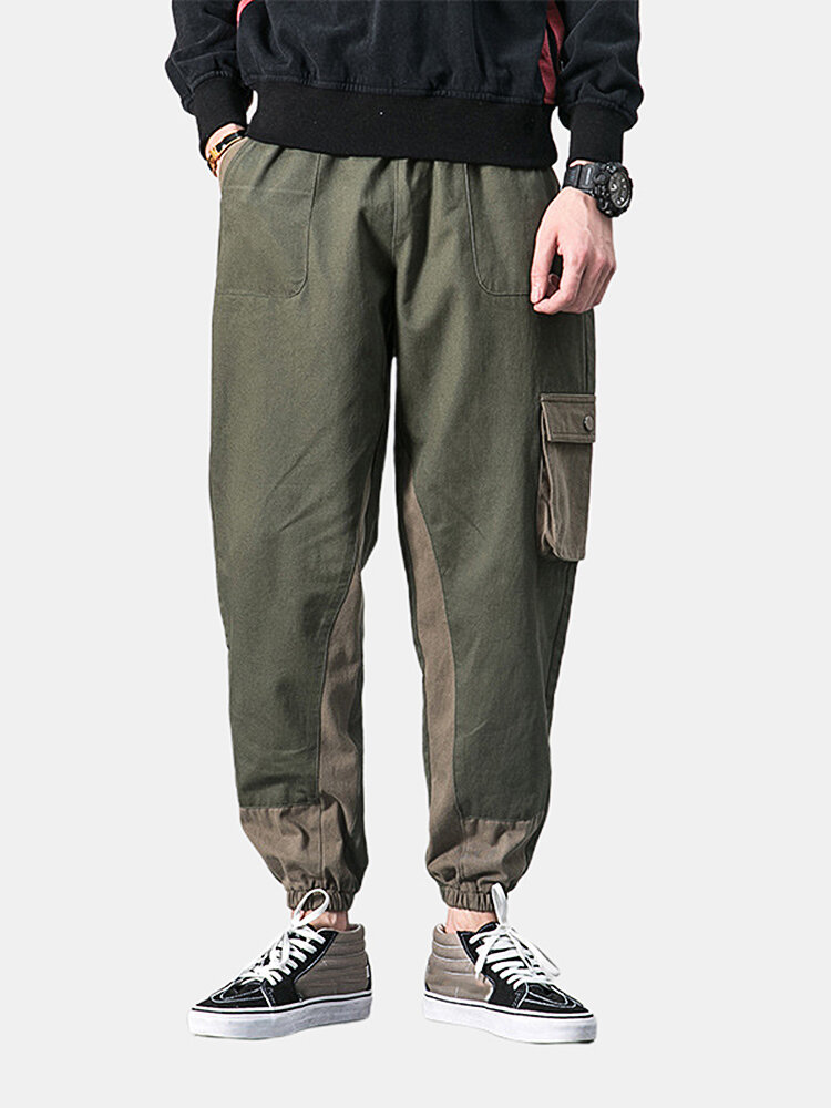 Best Mens Patchwork Contrast Color Multi Pockets Ankle Banded Pants You Can Buy