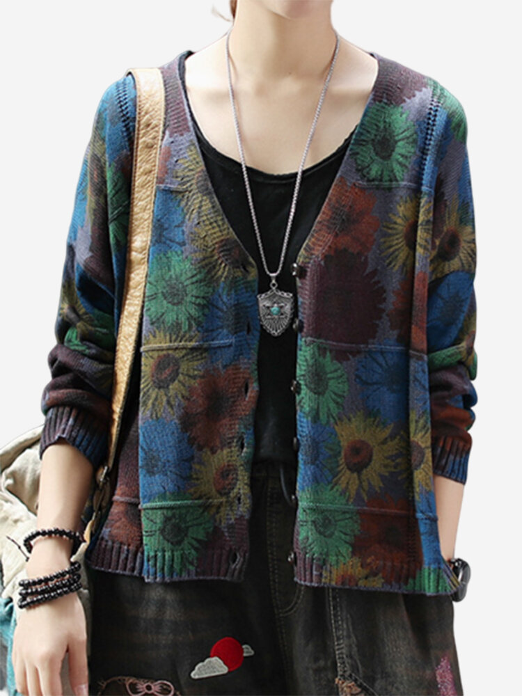 Best Bohemian Flower Printed V-neck Vintage Women's Cardigan You Can Buy