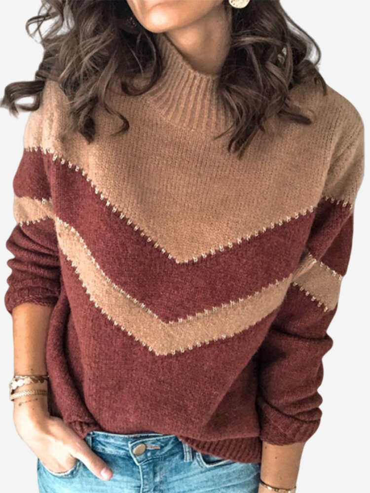 Best Turtleneck Contrast Color Long Sleeve Sweater For Women You Can Buy