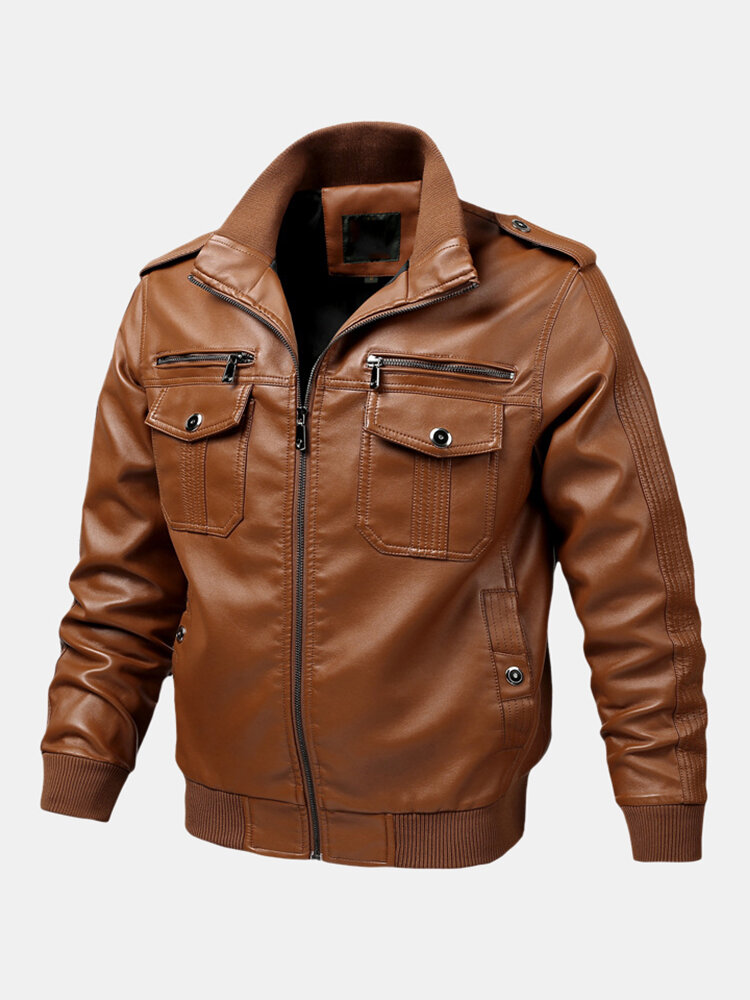 Best Mens Leather Fashion Jackets Multi Pockets Long Sleeve PU Leather Coats You Can Buy