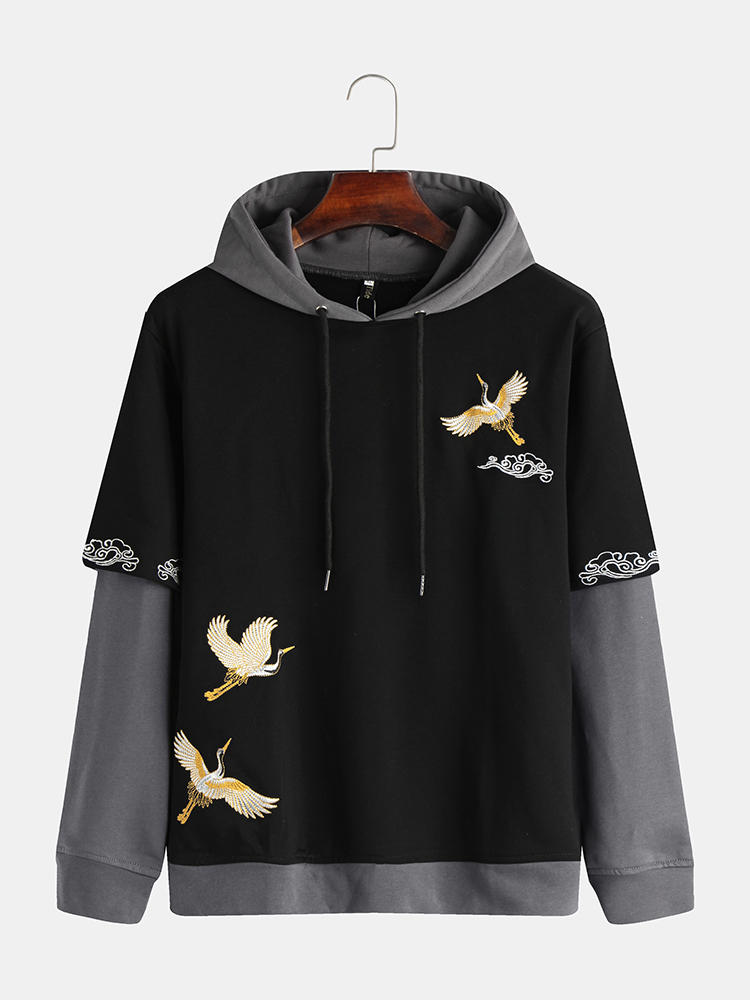 Best Mens Autumn Fashion Chinese Style Fairy Crane Embroidered Long Sleeve Hoodie You Can Buy