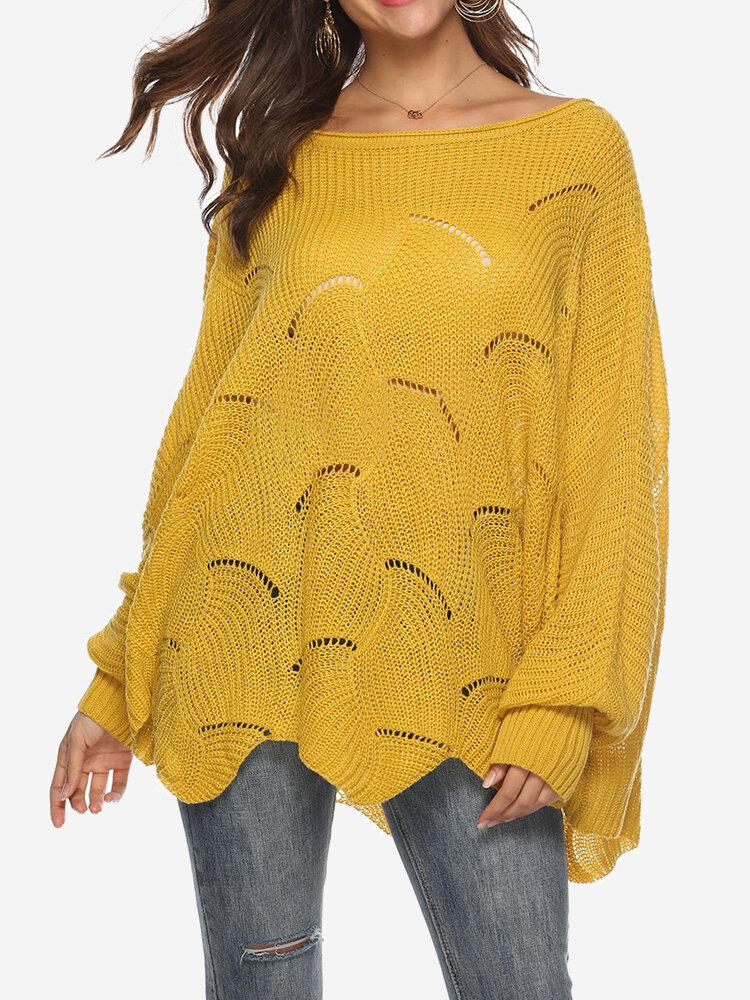 Best Chic Bishop Sleeve Crew Neck Waves Hem Overhead Sweater You Can Buy