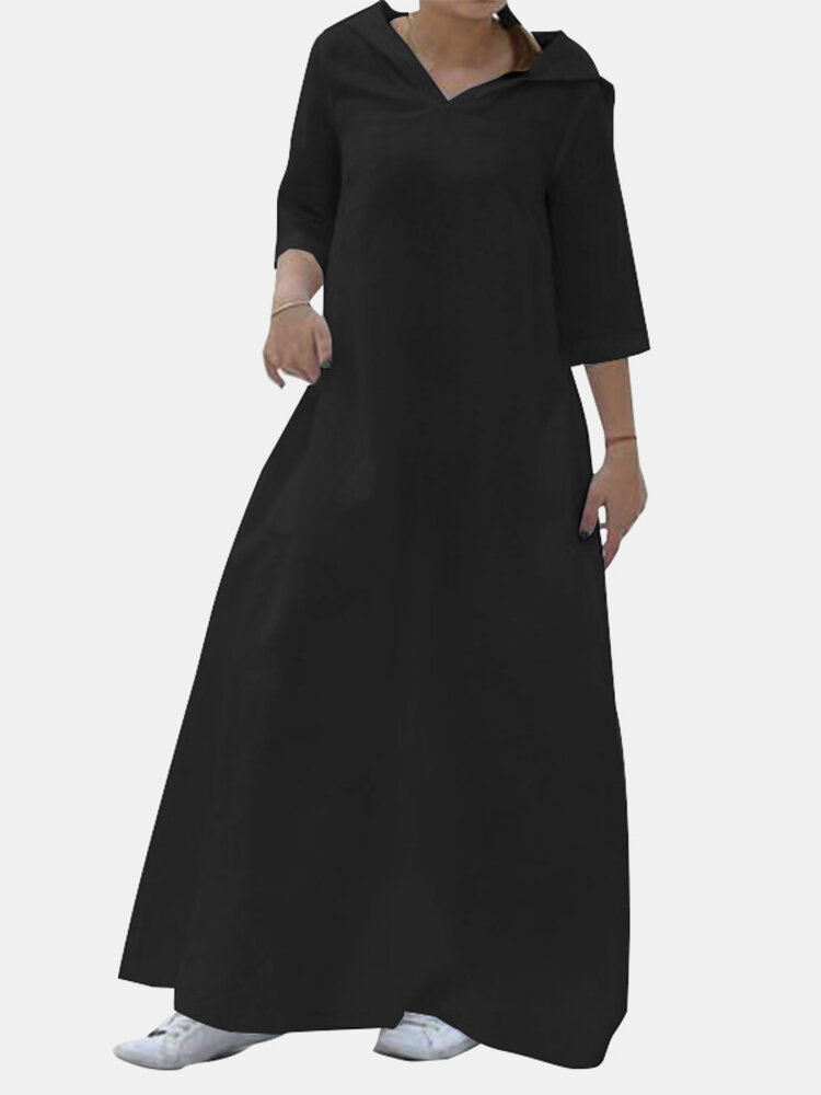 Best Casual Solid Color Long Sleeve V-neck Hooded Maxi Dress You Can Buy