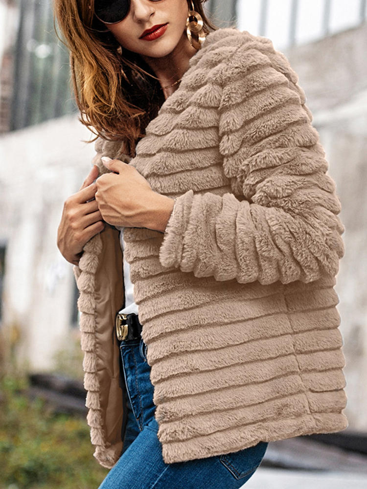 Best Faux Fur Solid Color Long Sleeve Coat For Women You Can Buy