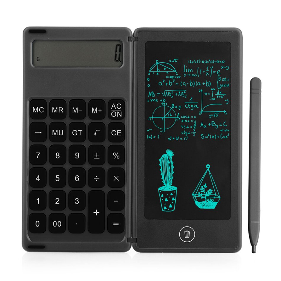 Gideatech 12 Digits Display Desktop Calculator with 6 Inch LCD Writing Tablet Foldable Repeated Writing Digital Drawing Pad with Stylus Pen Eraser Button Lock