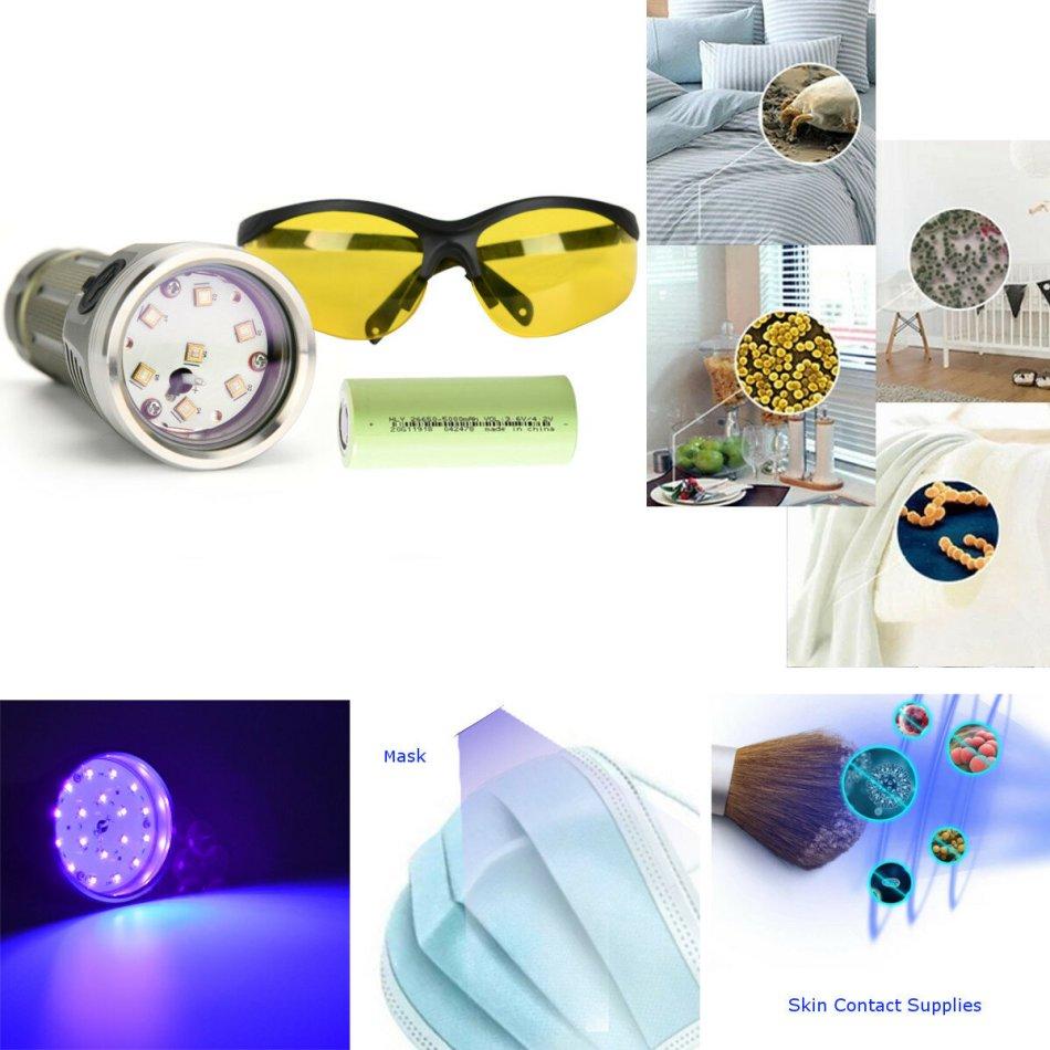 Astrolux® MF01 Mini-UVC Flashlight 99.9% Sterilization Rate Waterproof UV LED Sterilizer Disinfection UV Face Mask + 1Pc HLY 5000mAh Power 26650 Battery