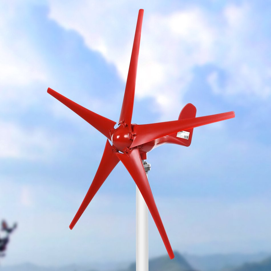 1000W Wind Power Electricity Generator 12V/24V 5 Wind Blades Horizontal Wind Generator With Controller Wind turbines Blade