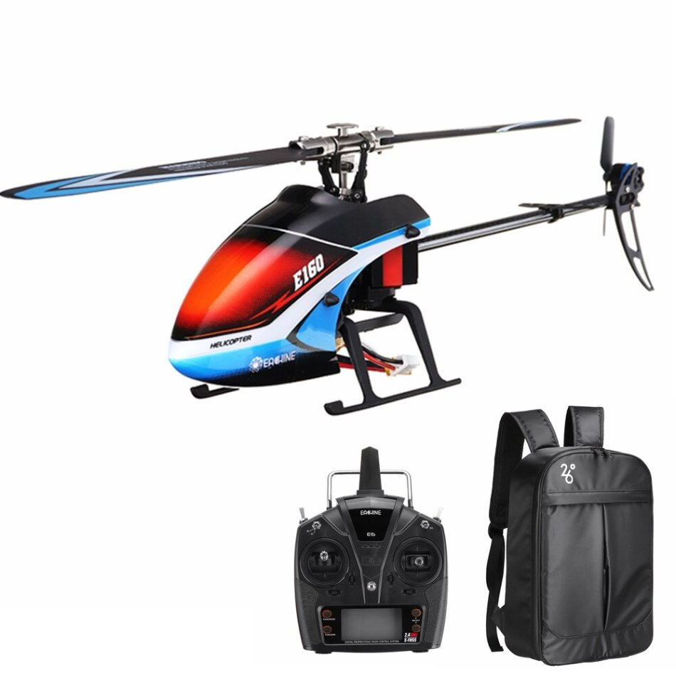 Eachine E160 6CH Dual Brushless 3D6G System Flybarless RC Helicopter RTF with Backpack