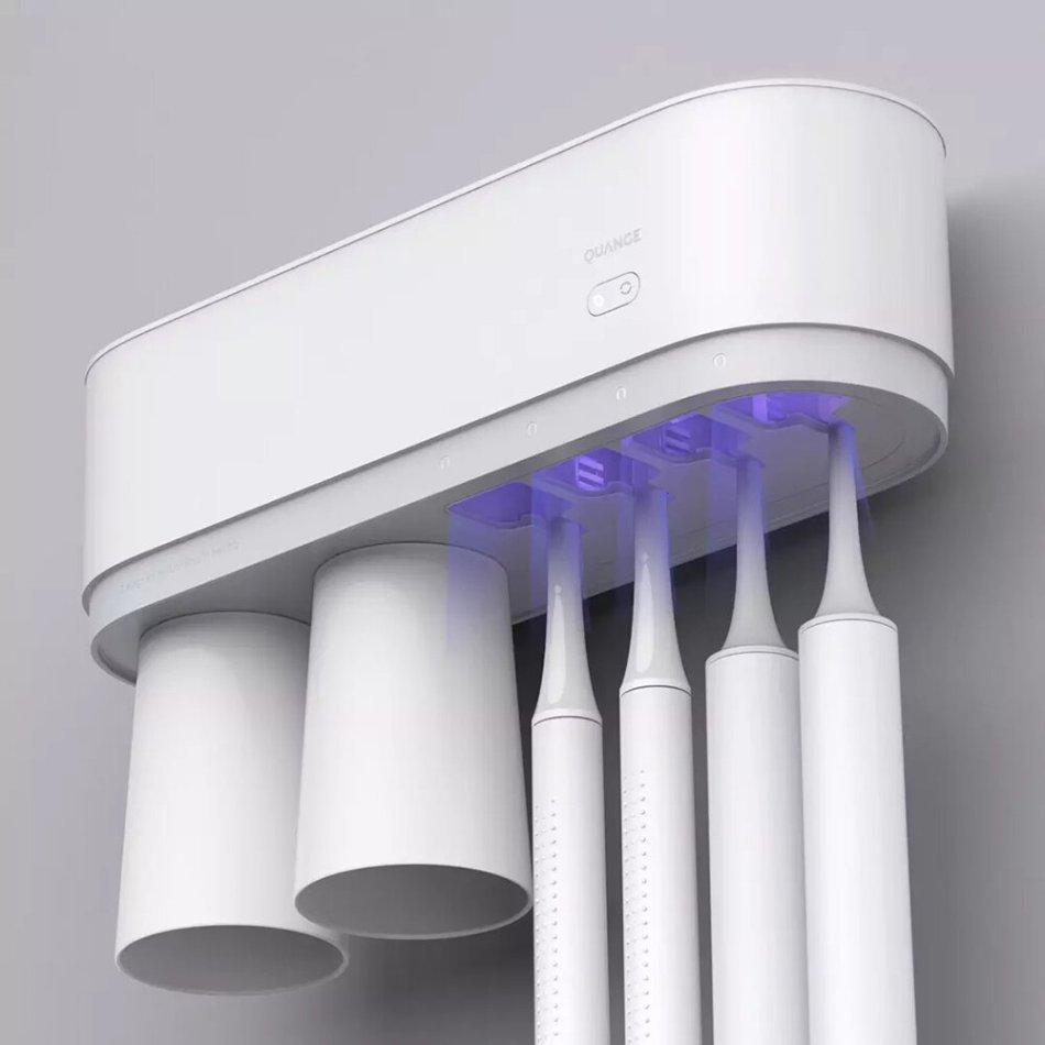 QUANGE Intelligent Sterilization Toothbrush Cup Ultraviolet Sterilization Toothbrush Holder for Bathroom Storage Organisation