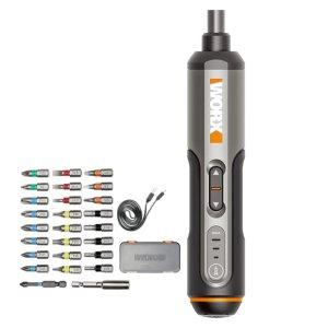 Στα €33.53 από αποθήκη Κίνας | Worx 4V Mini Electrical Screwdriver Set WX240 Smart Cordless Electric Screwdrivers USB Rechargeable Handle with 26 Bit Set Drill