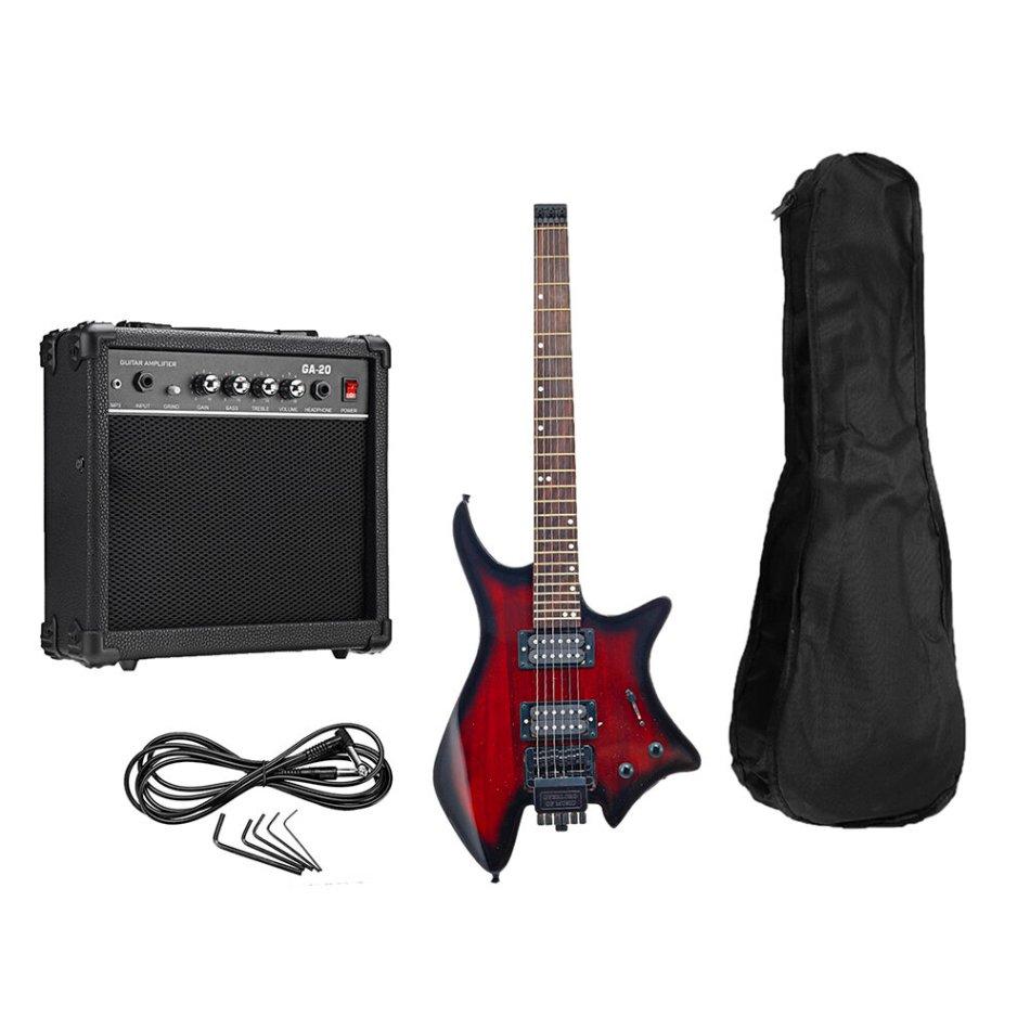IRIN R-700 Headless Electric Guitar Set Dual Pickups Built-in String Lock Module with Speaker