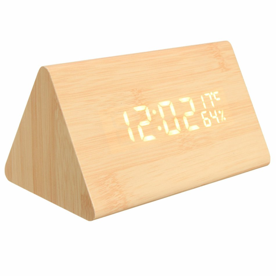 Loskii HC-31 USB Voice Control Wooden Wooden Triangle Temperature LED Digital Alarm Clock Humidity Thermometer