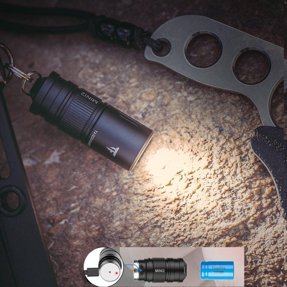 Trustfire Mini2 220lm Rechargeable EDC Keychain Flashlight USB Powered Mini LED Keychain Light IPX8 10180 EDC Flash Light Torch Lamp