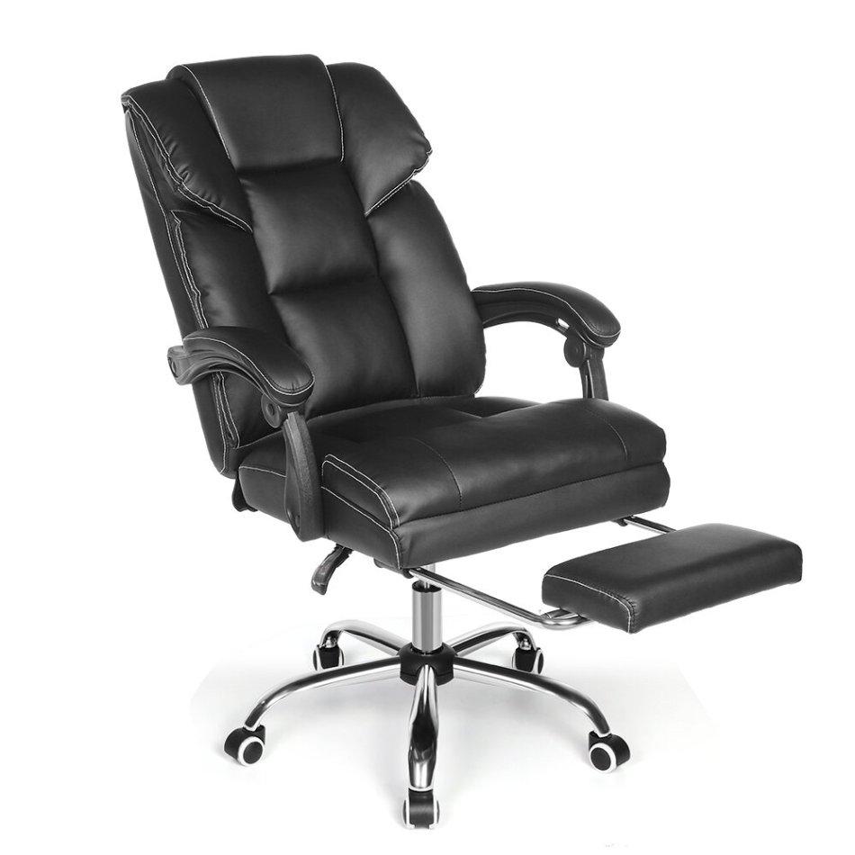 BlitzWolf® BW-OC1 Office Chair Ergonomic Design with 150°Reclining Wide Seat Retractable Footrest PU Material Lumbar Pillow