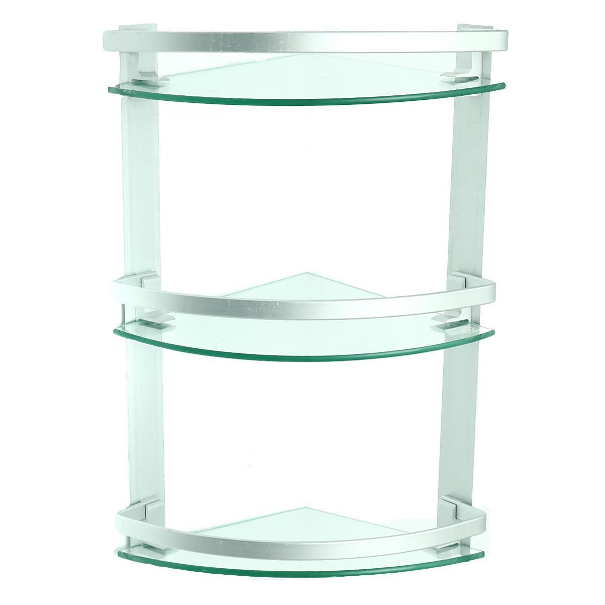 3 Tier Glass Bathroom Bath Shower Caddy Wall Corner Shelf Holder Rack