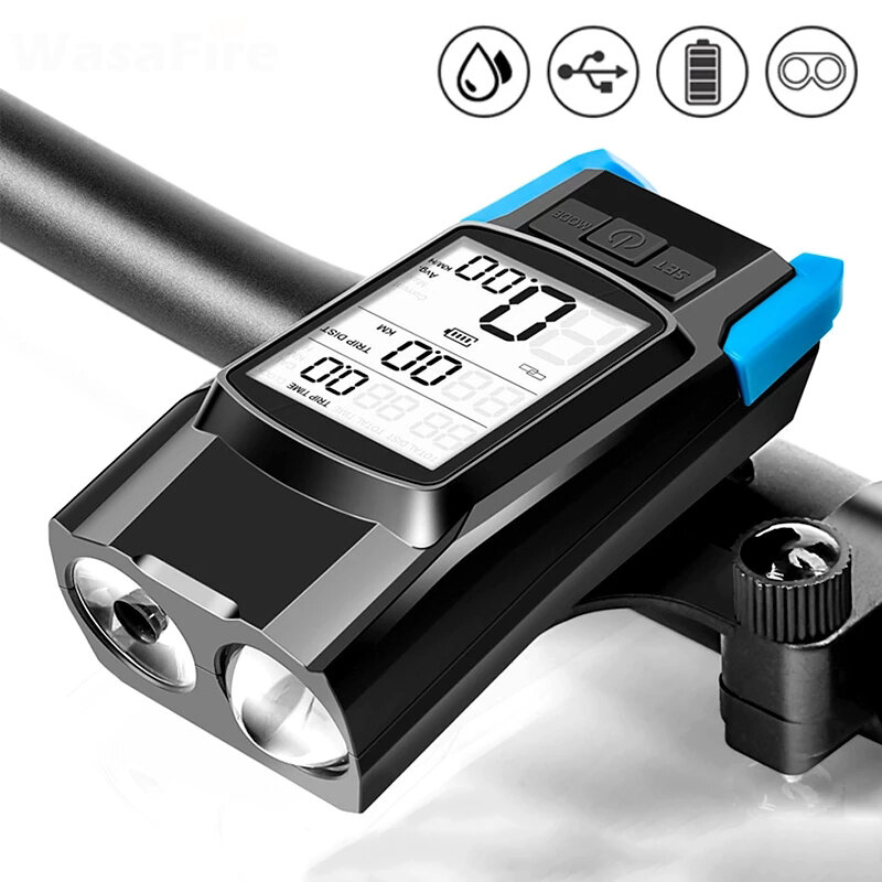BIKIGHT 3-in-1 Bicycle Speedometer Wireless USB Rechargeable Double T6 LED Bike Light Bike Computer with Alarm Horn