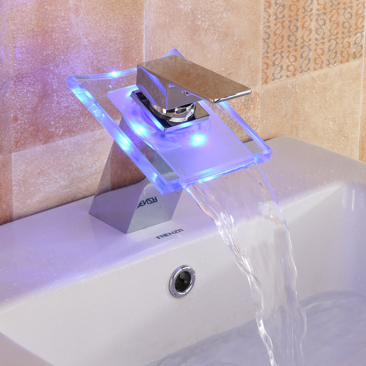 Led Color Changing Waterfall Faucet Bathroom Sink Faucet Glass Basin Bathtub Mixer Tap Sale Banggood Com
