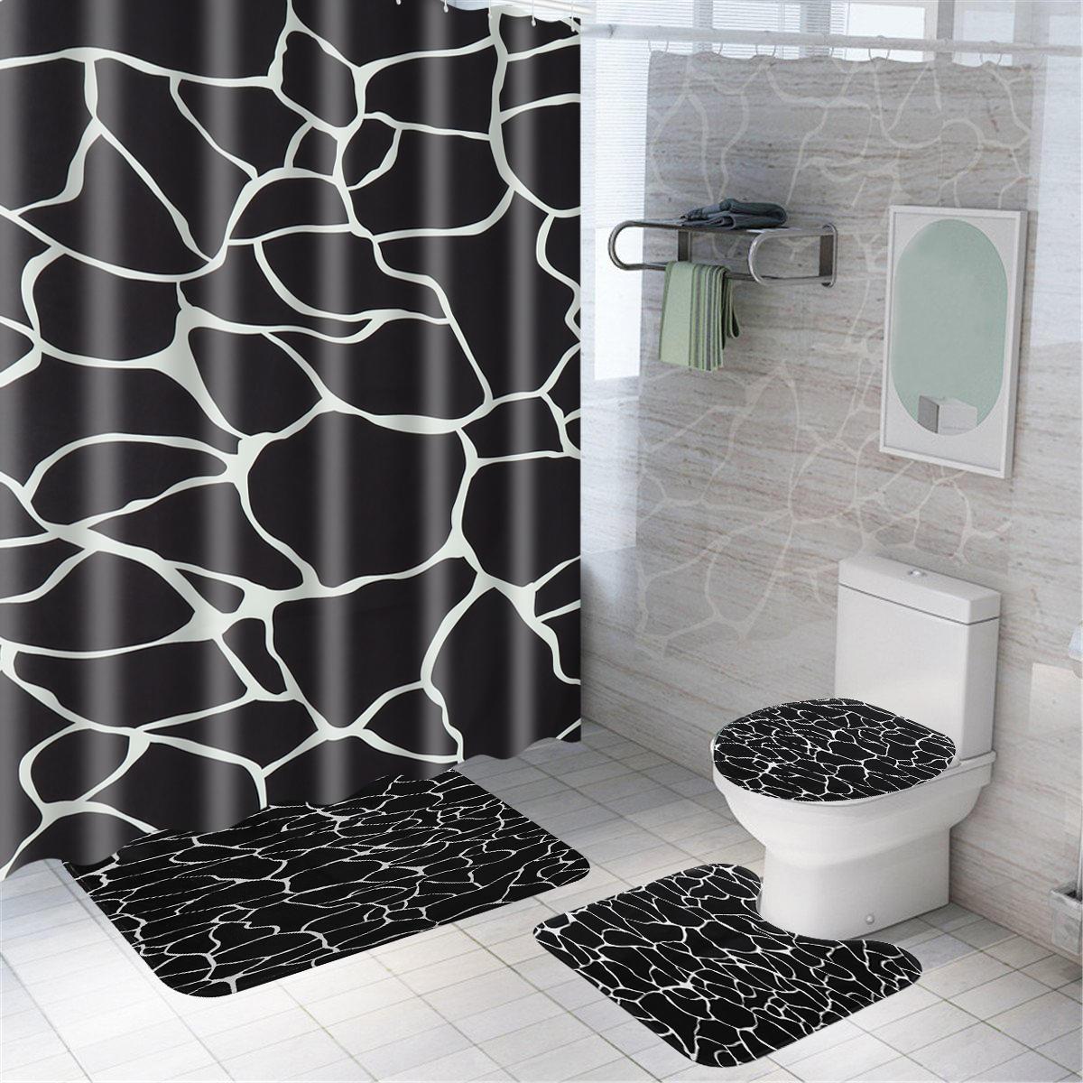 Marble Shower Curtain Waterproof Bathroom Bath Mat Set Rug Toilet Lid Covers A Shower Curtain Sale Banggood Com