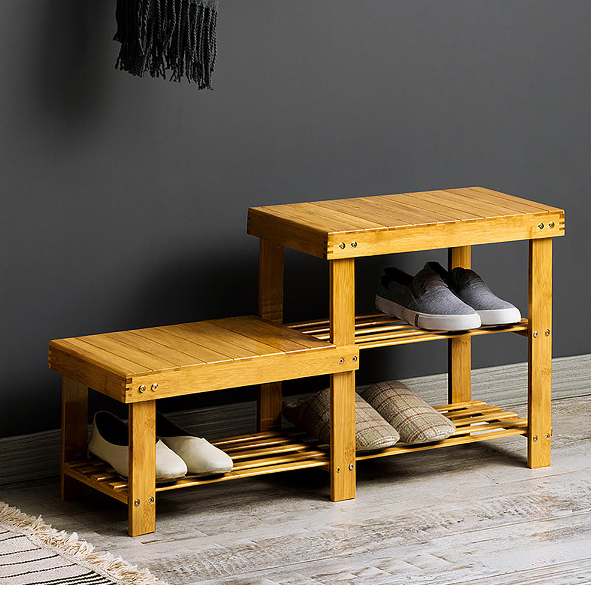 Bamboo Shoe Racks Bench Storage Seat Organizer Shelf Footstool Entryway Hallway Home Sale Banggood Com Sold Out Arrival Notice