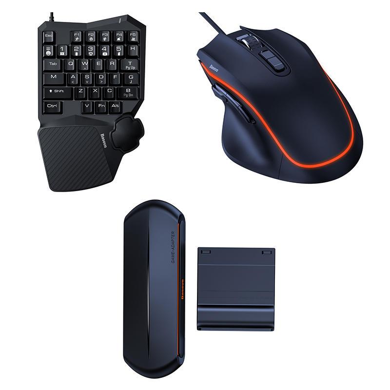 Baseus GAMO GK01/GM01/GA01 Keyboard Mouse Set 35 Keys Single Hand Gaming Keyboard + Gaming Mouse + Mobile Game Adapter