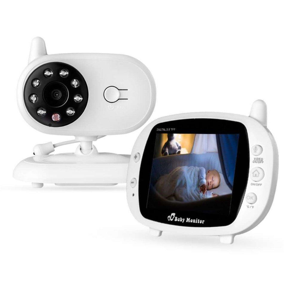 3.5 inch Baby Monitor 2.4GHz Video LCD Digital Camera Night Vision Temperature Monitoring Monitors