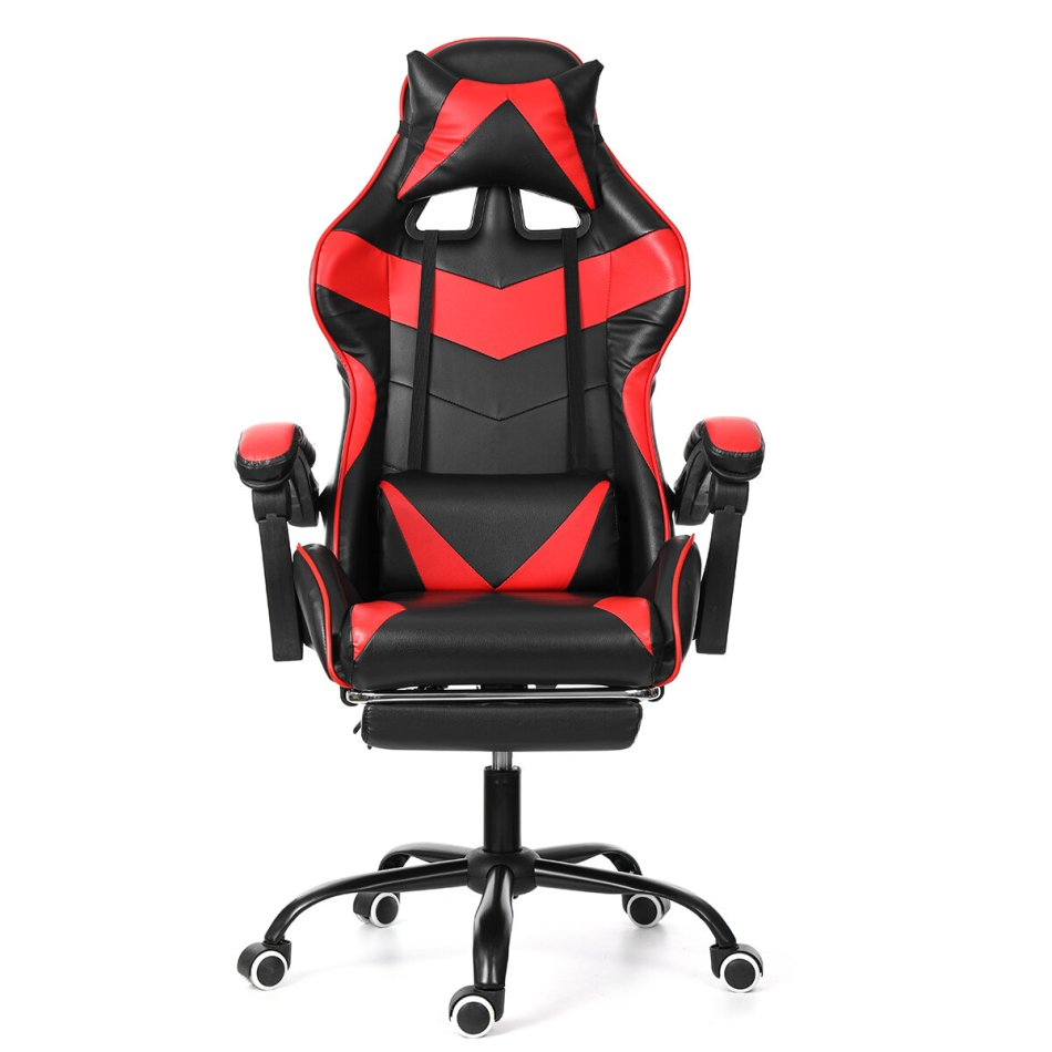 Ergonomic High Back Racing Chair Reclining Office Chair Adjustable Height Rotating Lift Chair PU Leather Gaming Chair Laptop Desk Chair with Footrest