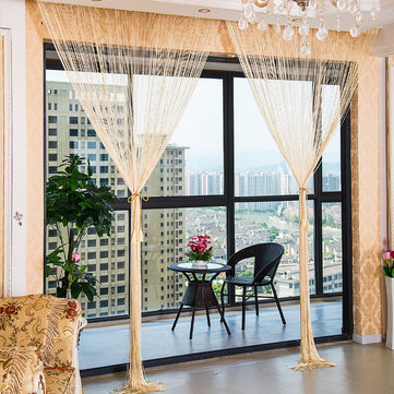 1 0x2 0m glitter string bead door curtain panels fly screen room divider voile curtains net