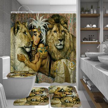 african woman egypt queen and lion waterproof bathroom set shower curtain bath mats floor doormat rugs