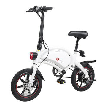 [EU Direct] DYU D3+ 10Ah 240W 36V Folding Moped Electric Bike 14inch 25km/h Top Speed 70km Mileage Intelligent Double Brake System Max Load 120kg White