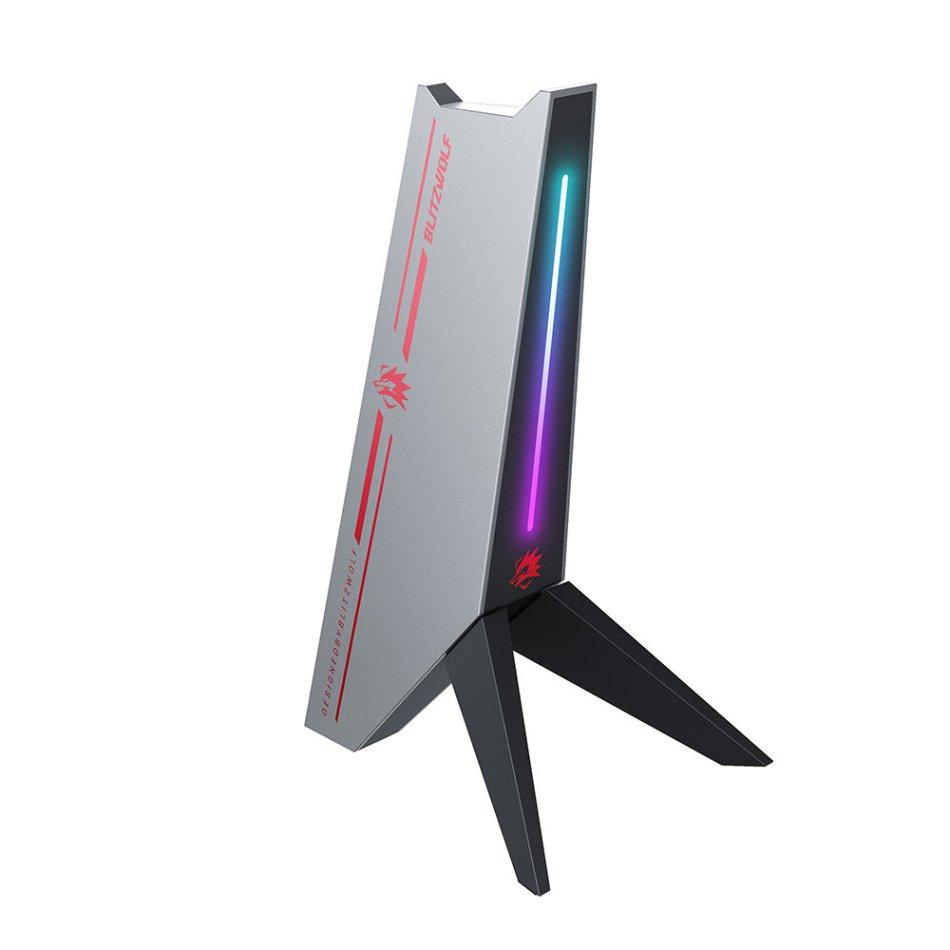 BlitzWolf®BW-GTK0 RGB Gaming Headphone Stand with Headphone Holder RGB Light Dual USB2.0 Ports Audio Port