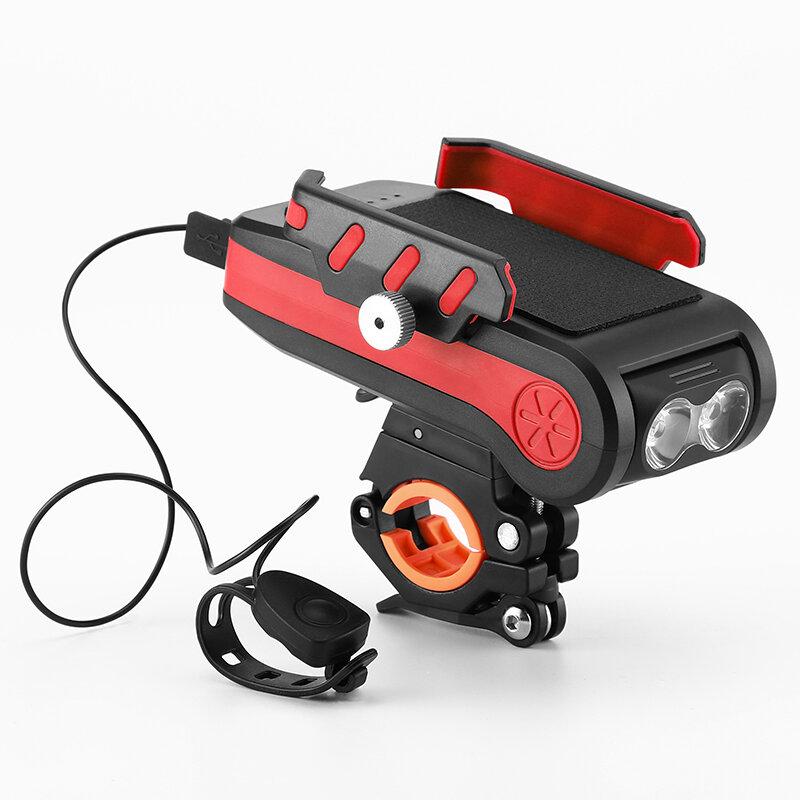 BIKIGHT 4-in-1 4000mAh 550LM Bike Light USB Rechargeable Power Bank Waterproof Phone Holder Headlight With Bike Horn