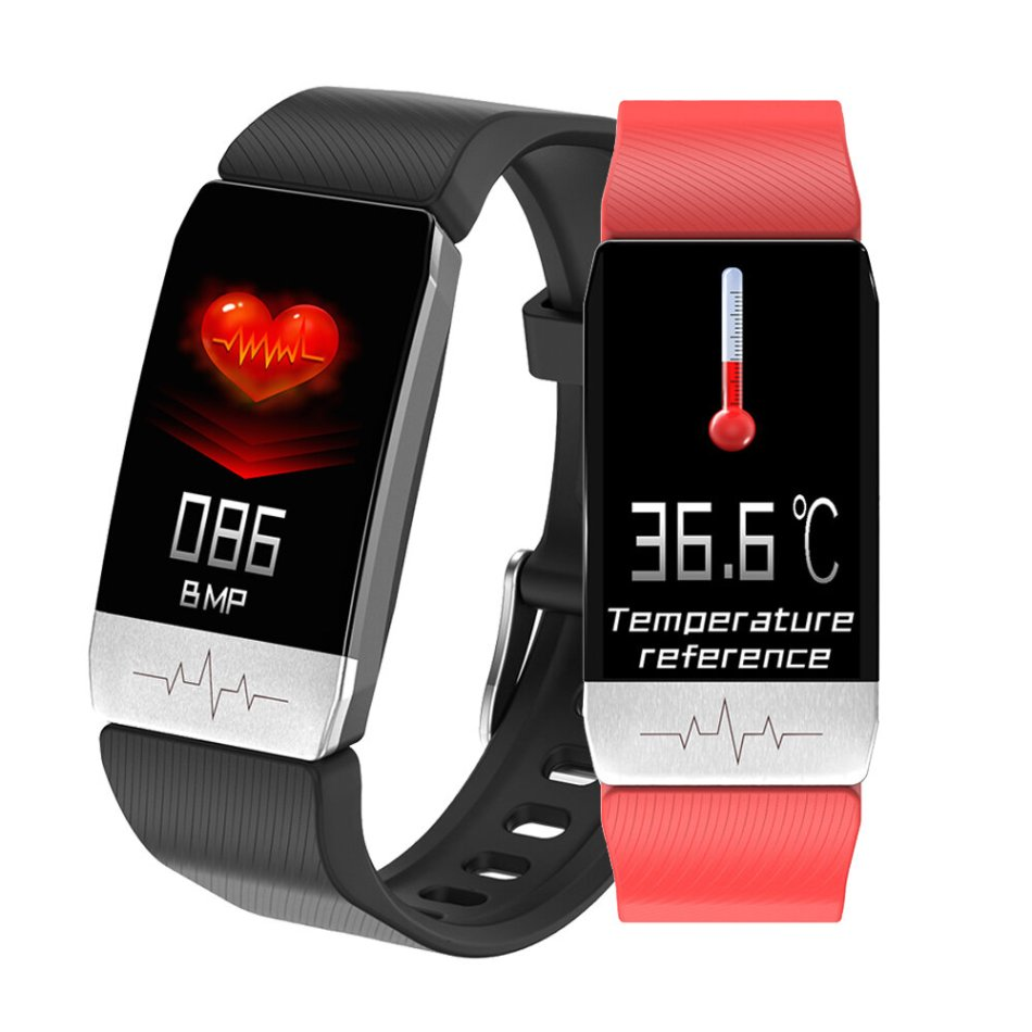 [Body Temperature Measurement] Bakeey T1 Thermometer ECG Monitor Heart Rate Blood Pressure SpO2 Monitor Health Care GPS Run Route Track Smart Watch