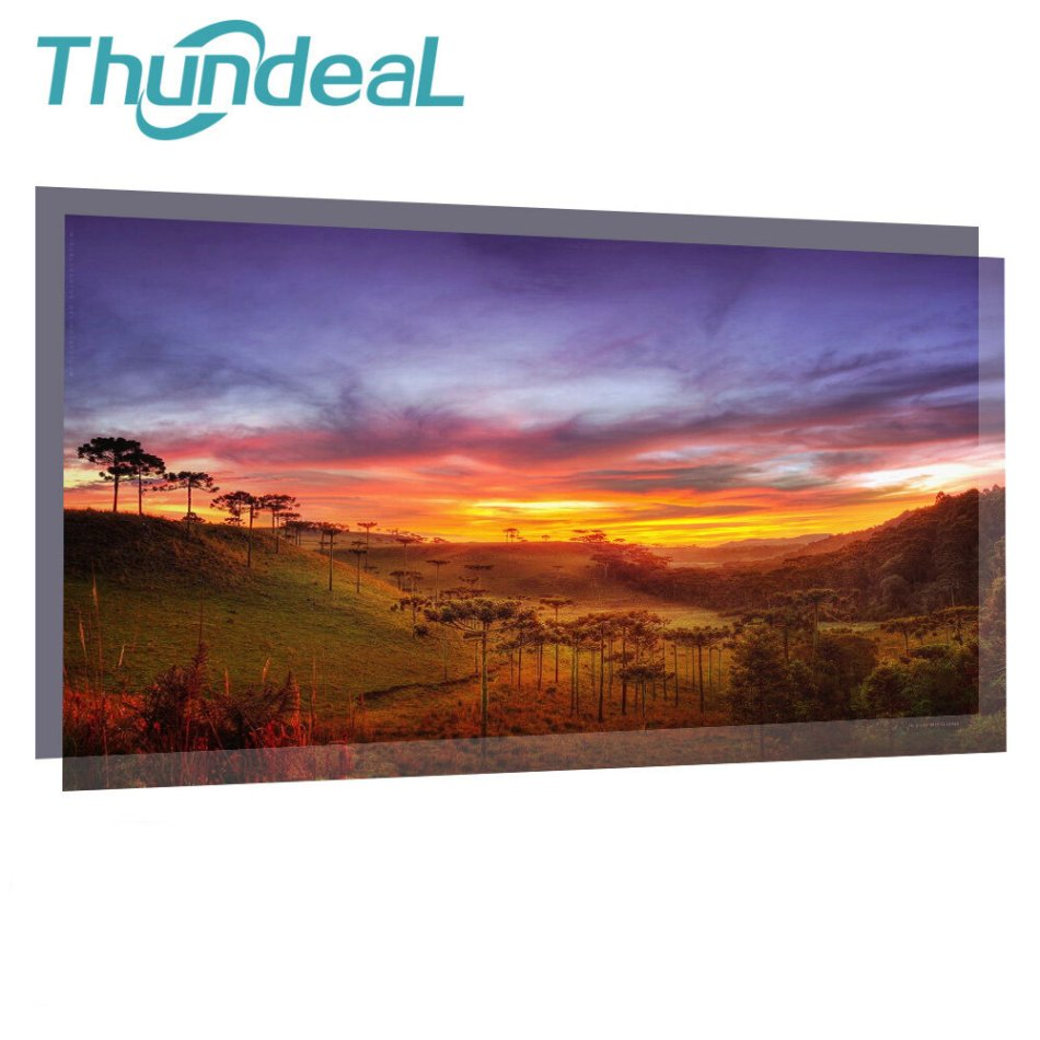 Thundeal 100-Inch/120-Inch High Brightness Reflective Grey Projector Screen 16:9 Fabric Cloth Projection Screen for Home Theater Outdoor Movie