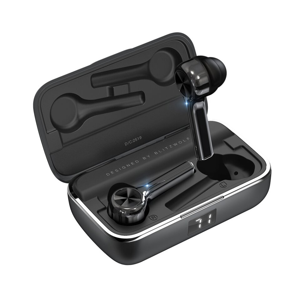 BlitzWolf® BW-FYE6 TWS Wireless bluetooth 5.0 Earphone Graphene Digital Display Tap Control Type-C Bilateral Call Headphone