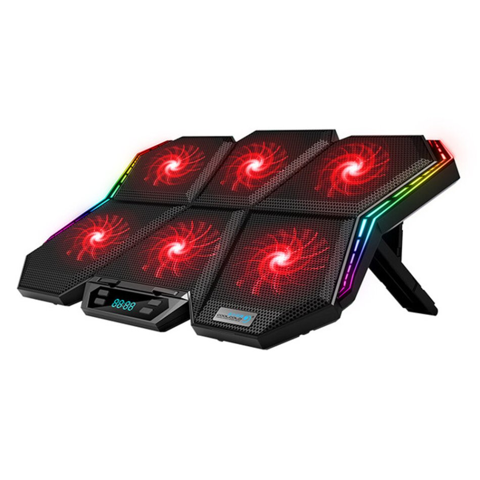 Coolcold Laptop Cooling Pads Gaming RGB Laptop Cooler For 12-17 inch Led Screen Notebook Cooler Stand with Six Fan and 2 USB Ports
