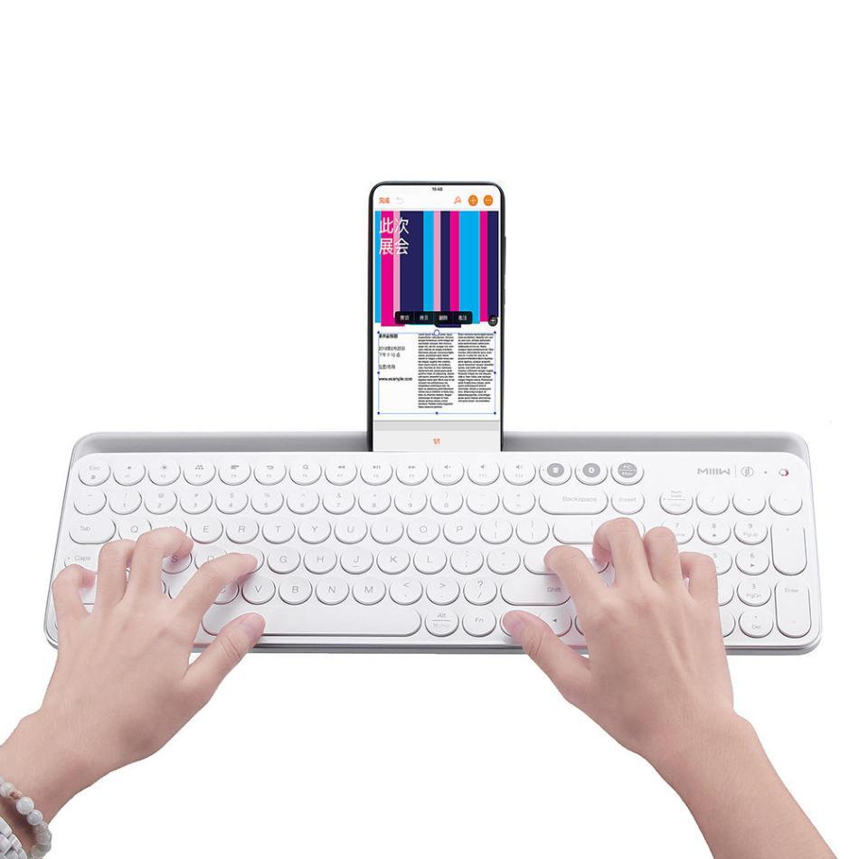 MIIIW 104Keys Wireless bluetooth Dual Mode Membrane Keyboard White