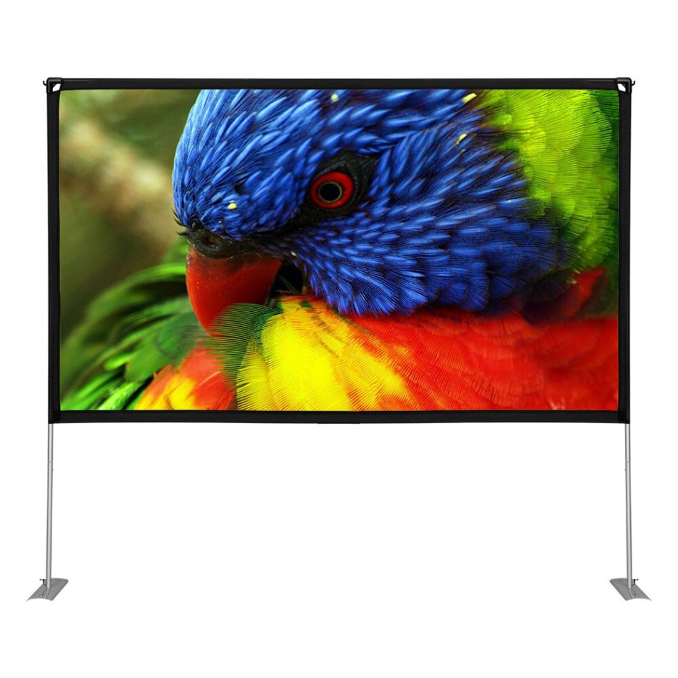 BlitzWolf® BW-VS5 100 inch Projection Screen 16:9 with Stable Stand HD 4K Resolution 160°Viewing Angle Wide Compatibility Detachable Projector Screen for Home Theater