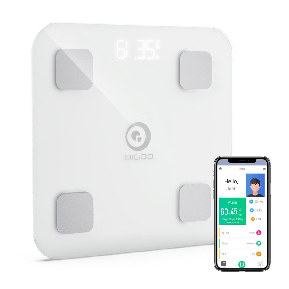 DIGOO DG-CF516 Smart Body Fat Scale Bluetooth 4.0 BMI Heart Rate Intelligent Analysis Scale APP Control Support IOS & Android