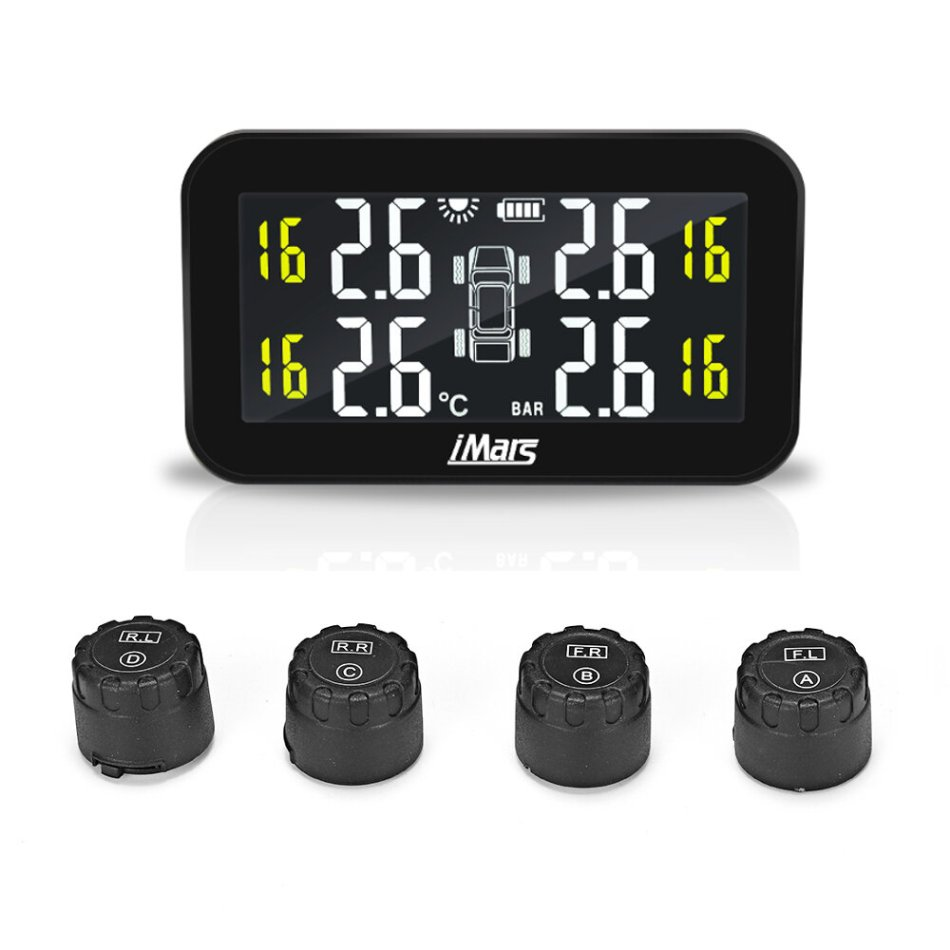 iMars T270 TPMS Solar Power Tire Pressure Monitor System Tester Wireless LCD Display with 4 External Sensors Universal