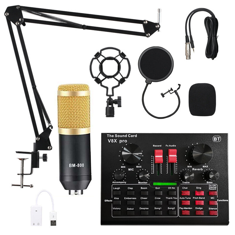 BM800 Condenser Microphone Kit Pro Audio Studio Sound Recording Microphone with V8X PRO Muti-functional Bluetooth Sound Card