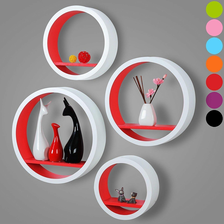 4pcs Bathroom Set Of Floating Wall Shelf Floating Shelves Storage Lounge Wood Cube Round S15