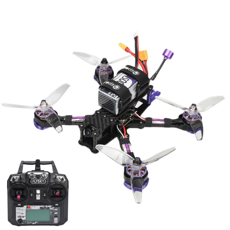 Eachine Wizard X220 V2 5 Inch 4S FPV Racing Drone RTF Flysky FS-i6X Transmitter FOXEER Arrow Micro Pro Cam F405 DJI DUAL BEC V1 Flight Controller 30A Blheli-S Brushless ESC 2207 2550KV Motor