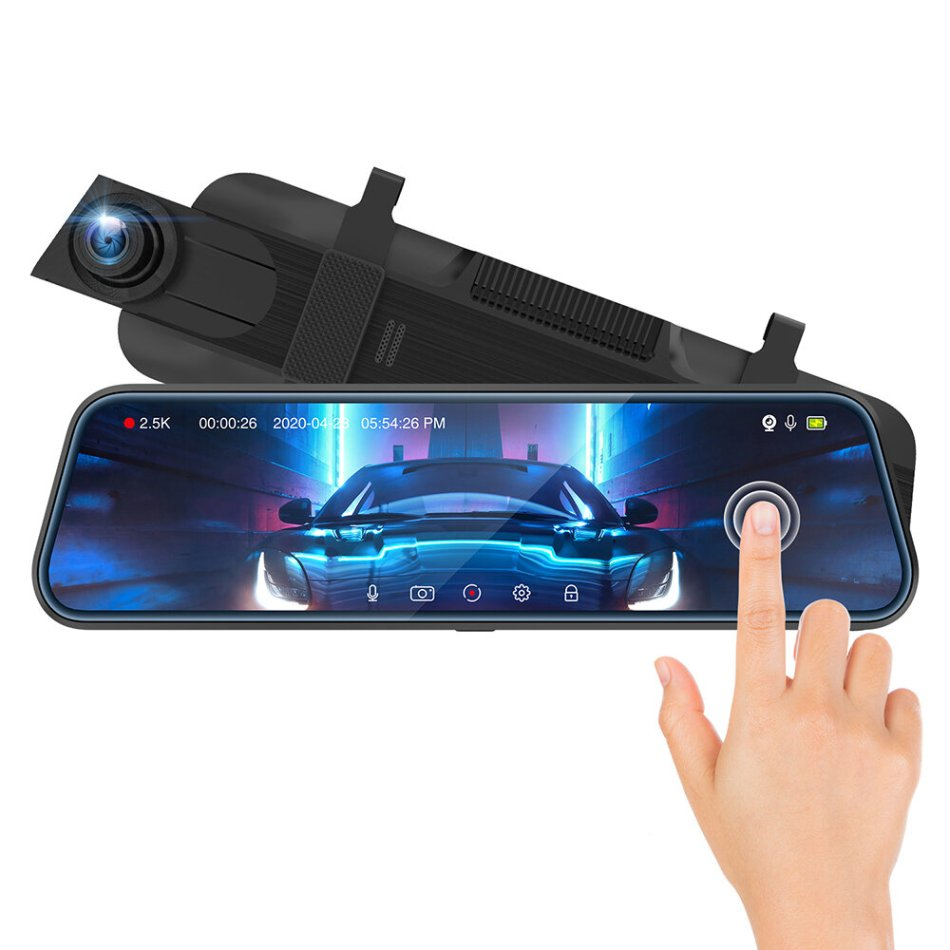 ThiEYE CarView3 Full HD1080P 2.5K DVR Camera 10Inch Touch Screen Video Recorder with Dual Lens Mirror Rearview Dash Camera