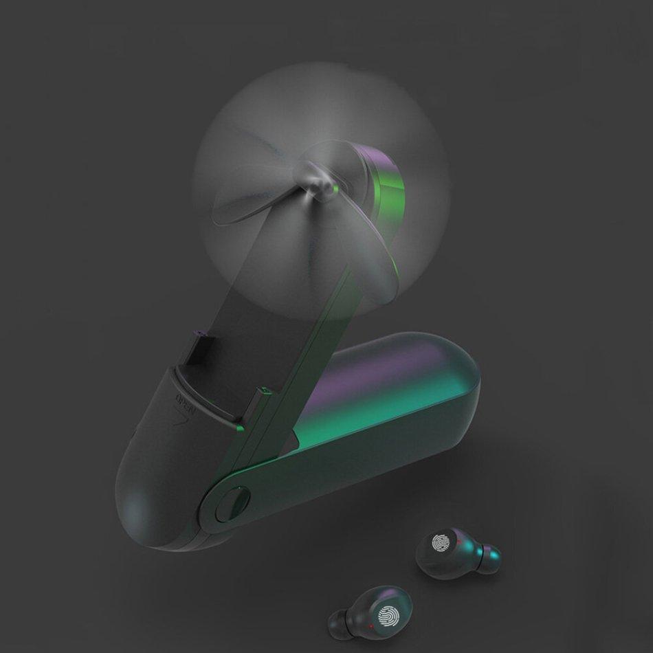 Bakeey F7 TWS bluetooth Earphone Handheld Fan Multifunctional Touch Control 2000mAh Power Bank Waterproof Mini Wireless Headphone
