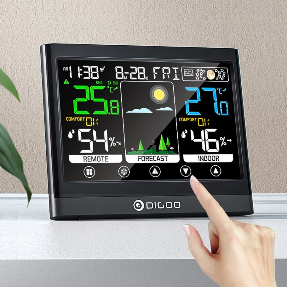DIGOO DG-TH8622 3 Channels Color Screen Weather Station