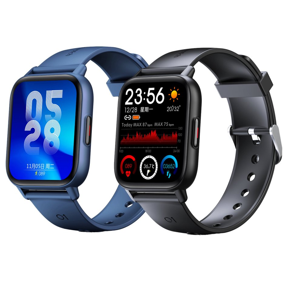 [Body Temperature Measure]Bakeey QS16 Pro 1.69 inch Touch Screen Heart Rate Blood Pressure SpO2 Monitor 24 Sports Modes Customized Dial Multi-language Smart Watch