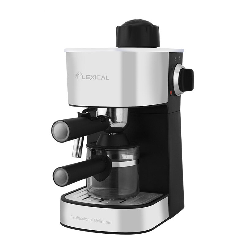 Lexical LEM-0601 Coffee Machine 240ml 800W with Milk Steamer Cappuccino Espresso Latte Drink Maker