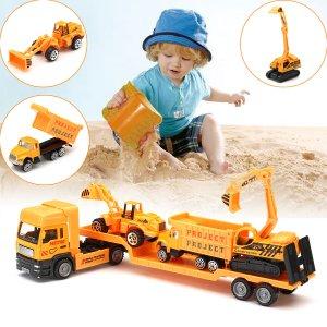 Στα 4€ από αποθήκη Κίνας | 4in1 Kids Toy Recovery Vehicle Tow Truck Lorry Low Loader Diecast Model Toys Construction Xmas