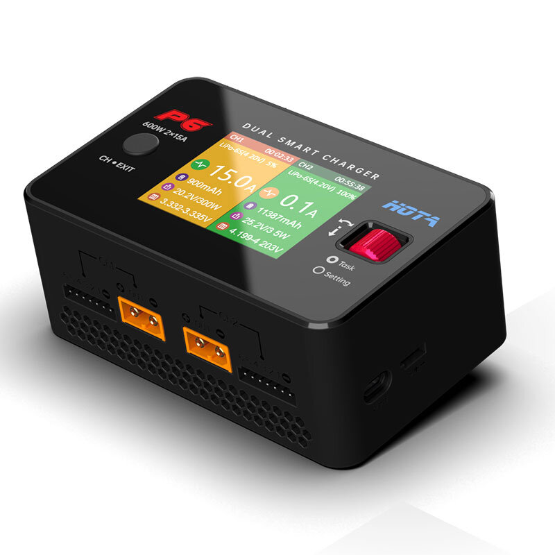 HOTA P6 DC 600W 15AX2 DC Dual Channel Smart Charger with Mobile Service Charging for Lipo LiIon NiMH Battery